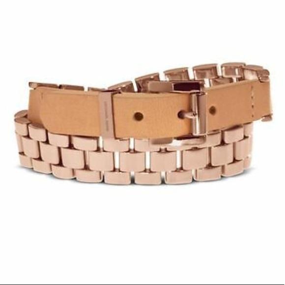 Michael Kors rose gold leather wrap bracelet